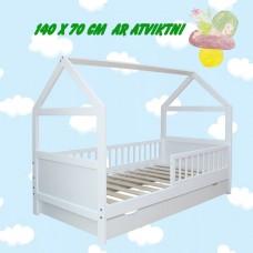 Bērnu gulta - mājiņa ar ATVIKTNI 140 x 70 cm