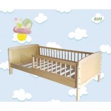 Priedes koka bērnu gultiņa ar barjeru 160 x 70cm